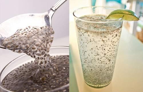 seminte de chia cu apa si lamaie